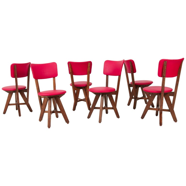Set of Six French Oak Mid-Century Modern Chairs, 1950s For Sale