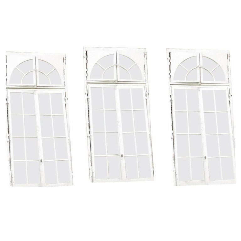 Set of 3 French Orangerie Castle Double Windows Doors, 19th Century