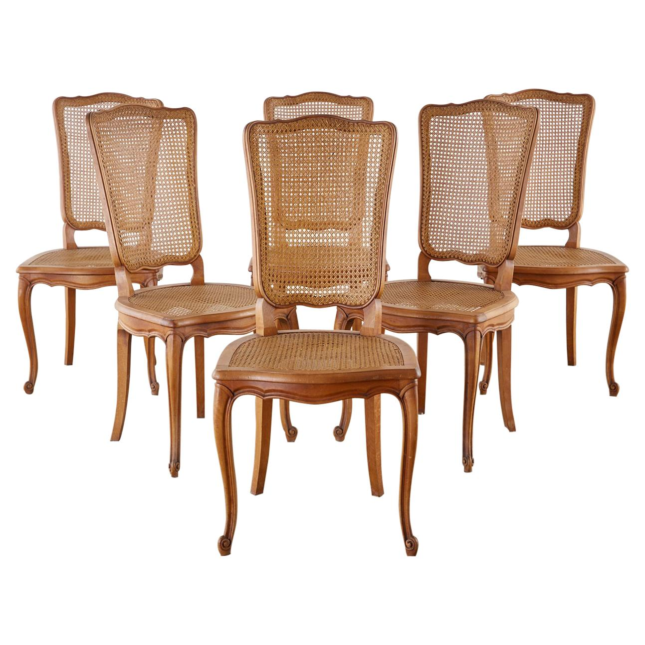 Set of Six French Provincial Caned Mahogany Dining Chairs