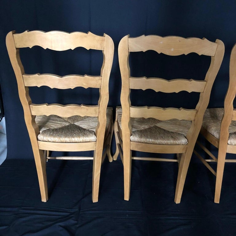Set of Six French Provincial Carved Ladderback Dining Chairs with Rush Seats For Sale 6