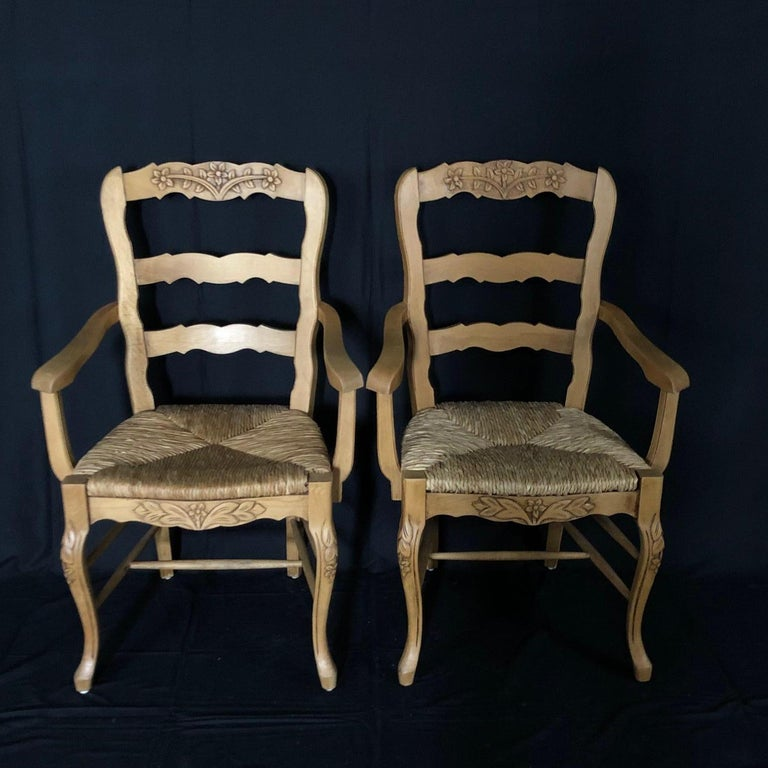 Set of Six French Provincial Carved Ladderback Dining Chairs with Rush Seats For Sale 7