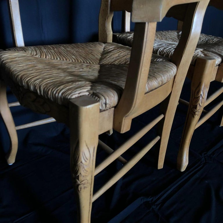 Set of Six French Provincial Carved Ladderback Dining Chairs with Rush Seats For Sale 11