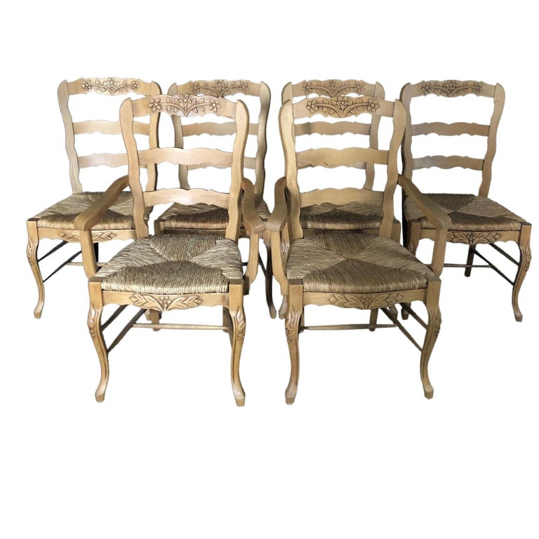 Set of Six French Provincial Carved Ladderback Dining Chairs with Rush Seats For Sale