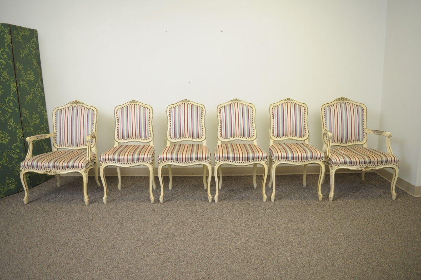 set of six french provincial louis xv style cream painted dining rh 1stdibs com Dining Room Chair Designs Wood Dining Room Chairs