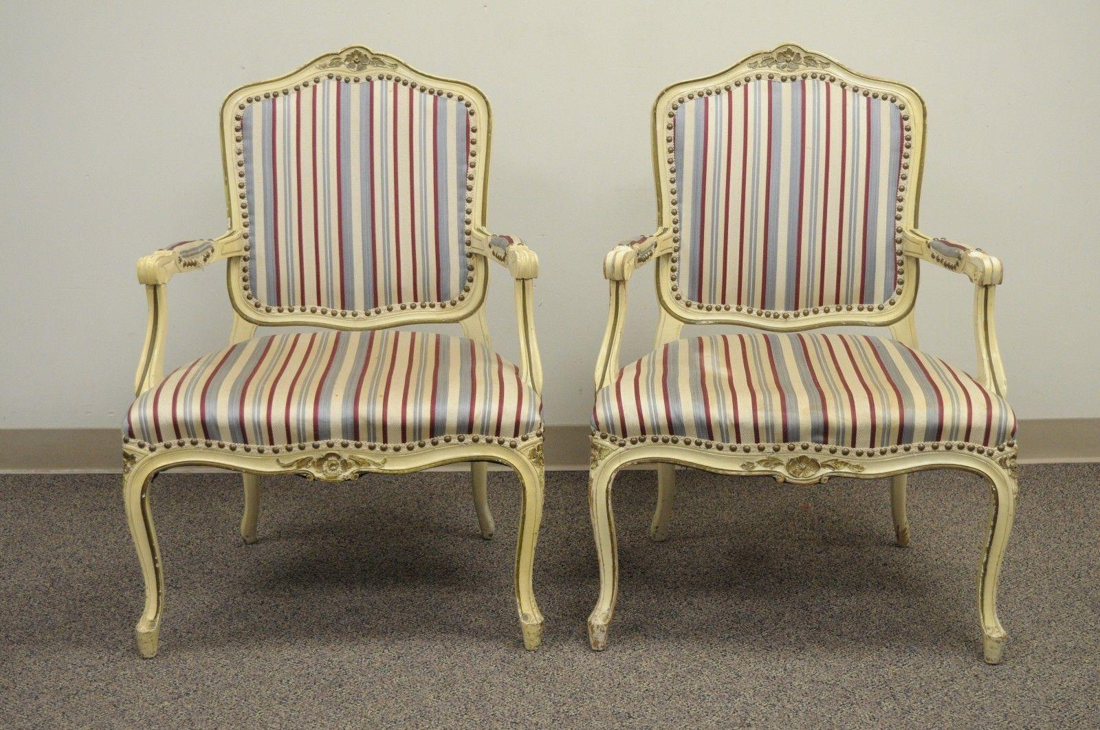 set of six french provincial louis xv style cream painted dining rh 1stdibs com Used Dining Chairs with Casters Used Oak Dining Chairs