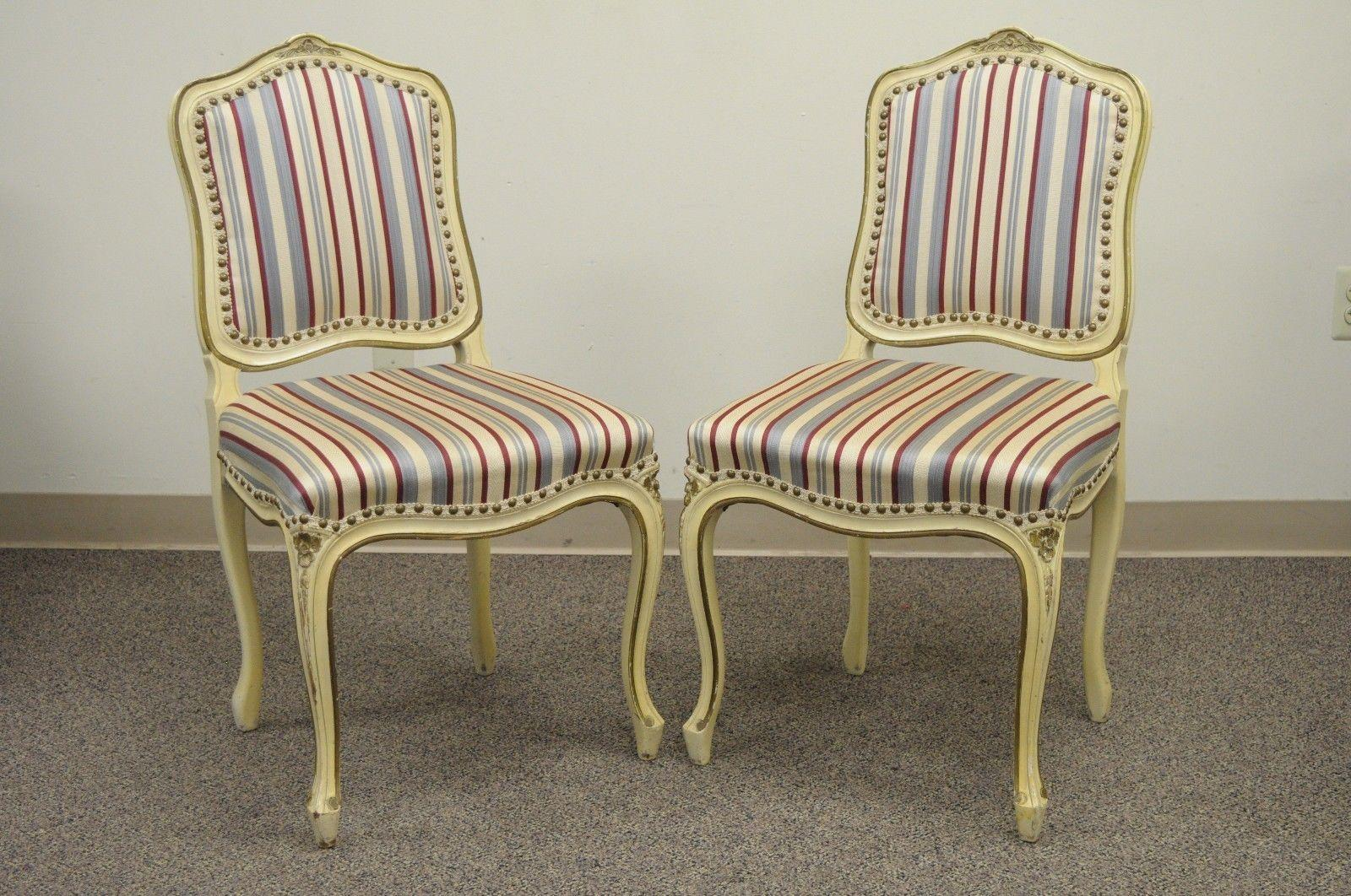 set of six french provincial louis xv style cream painted dining rh 1stdibs com Used Dining Chairs with Casters Dining Room Chair Sets