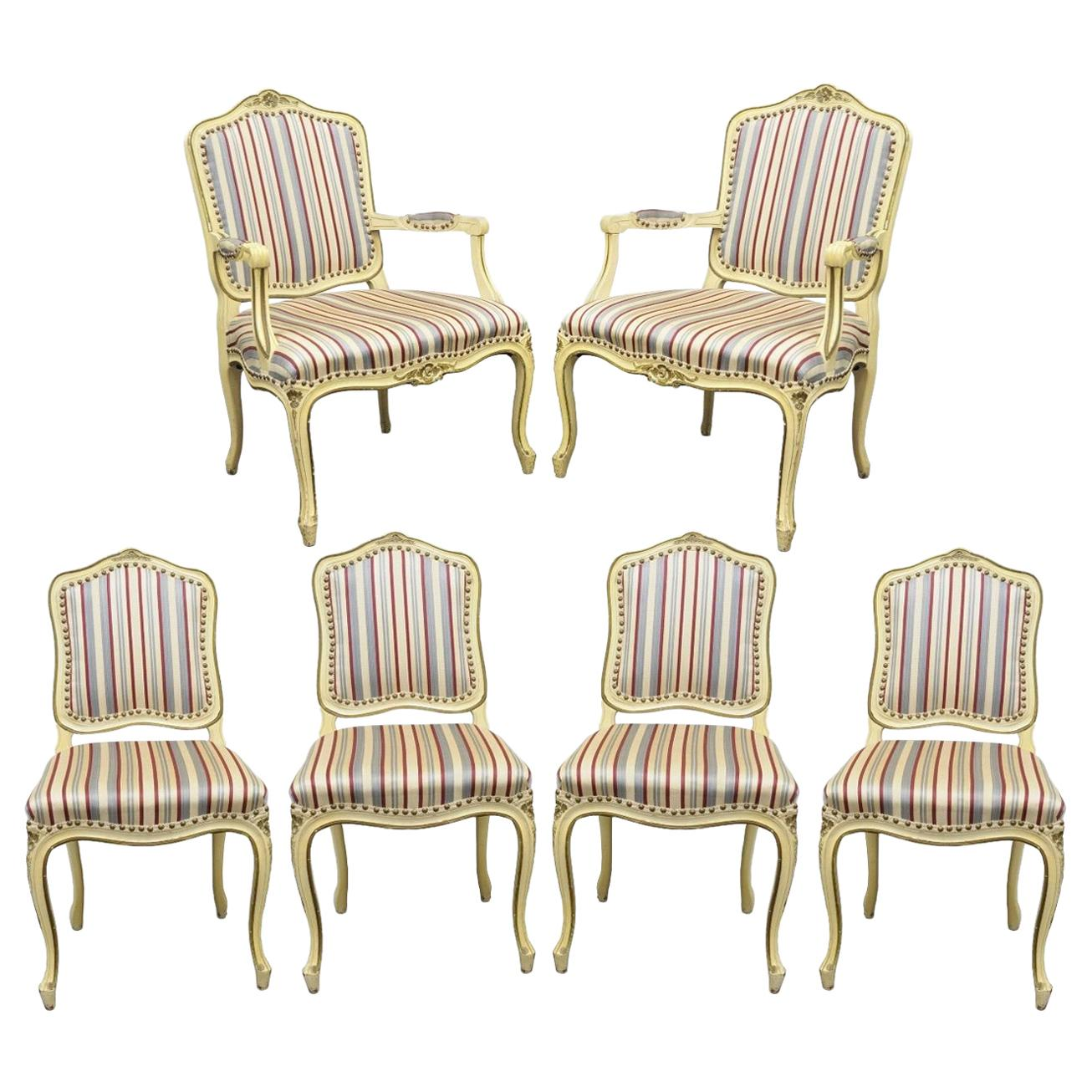 set of six french provincial louis xv style cream painted dining rh 1stdibs com Dining Room Chair Designs Dining Room Chair Styles