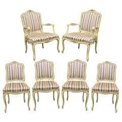 Set of Six French Provincial Louis XV Style Cream Painted Dining Room Chairs