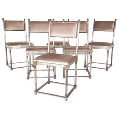 Set of Six French Steel Chairs in the Manner of Maison Jansen
