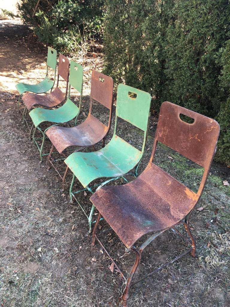 Set of Six French Steel Garden Chairs in Green Painted and Rusty Surface