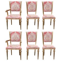 Set of Six French Style Gilt Dining Chairs with Cut Pink Velvet