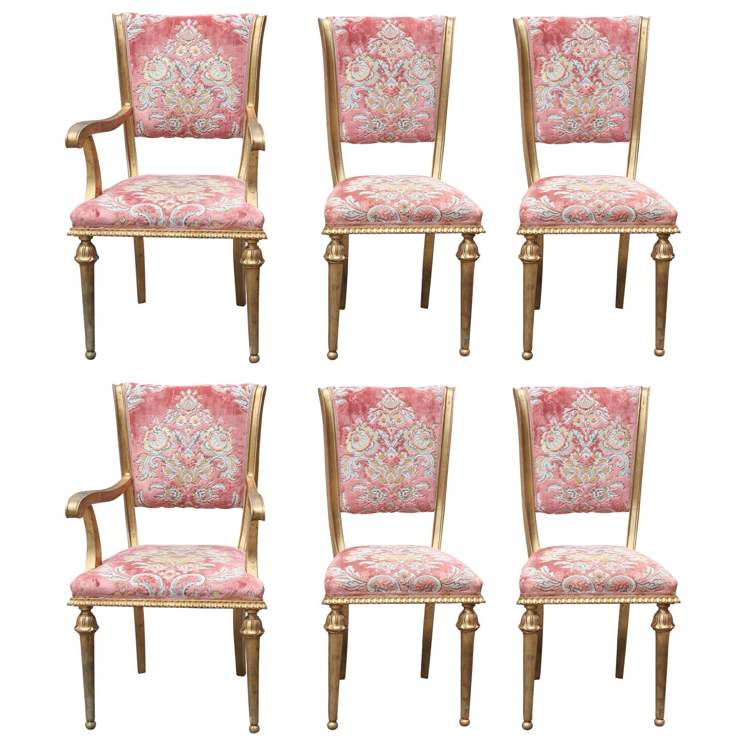 Set Of Six French Style Gilt Dining Chairs With Cut Pink Velvet For Sale