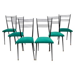 Set of Six French Stylized Ladder Back Chairs in the Style of Gio Ponti