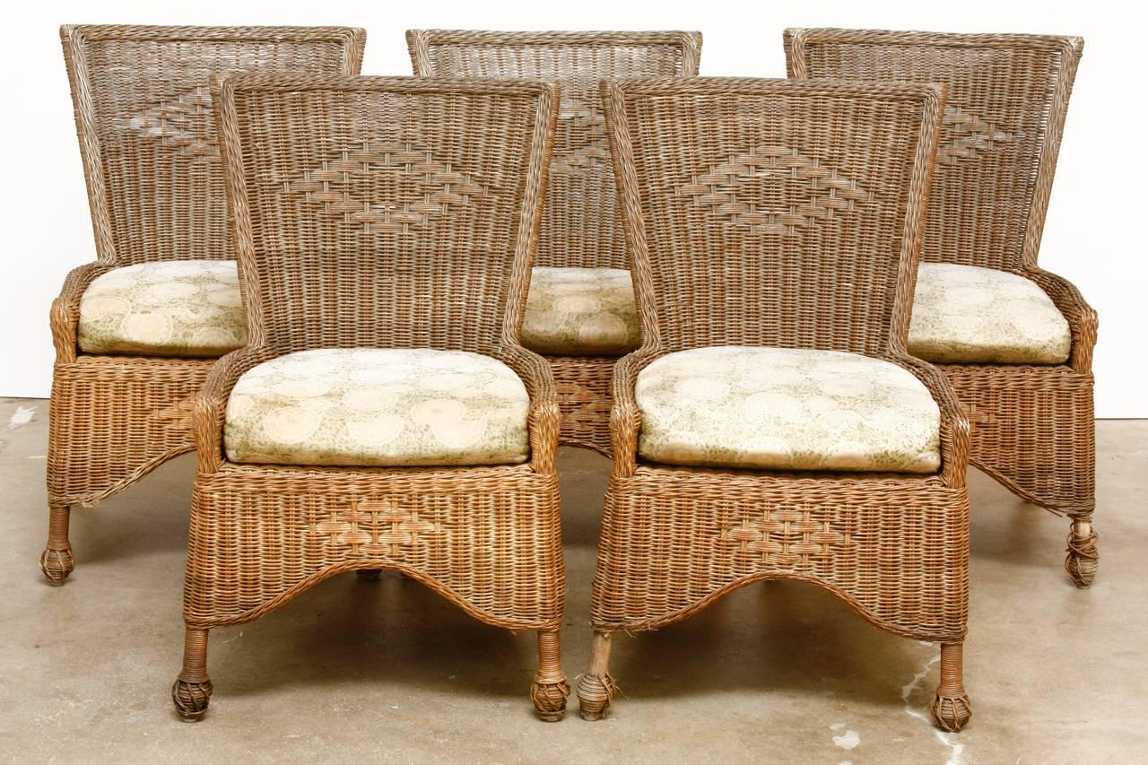 Stylish Set Of Six Country French Wicker And Rattan Patio Dining Chairs.  Features A Square