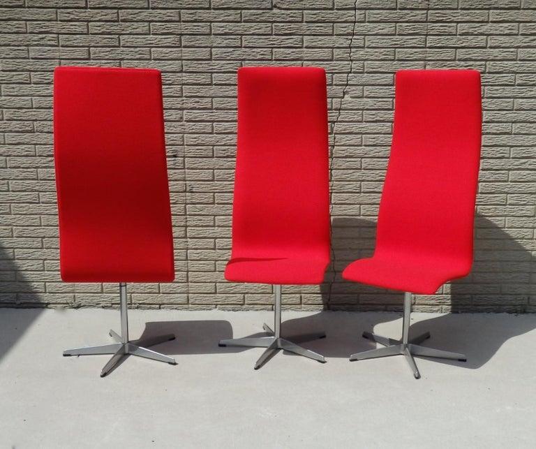 Set of Eight Freshly Restored Arne Jacobsen Fritz Hansen High Back Oxford Chairs For Sale 8