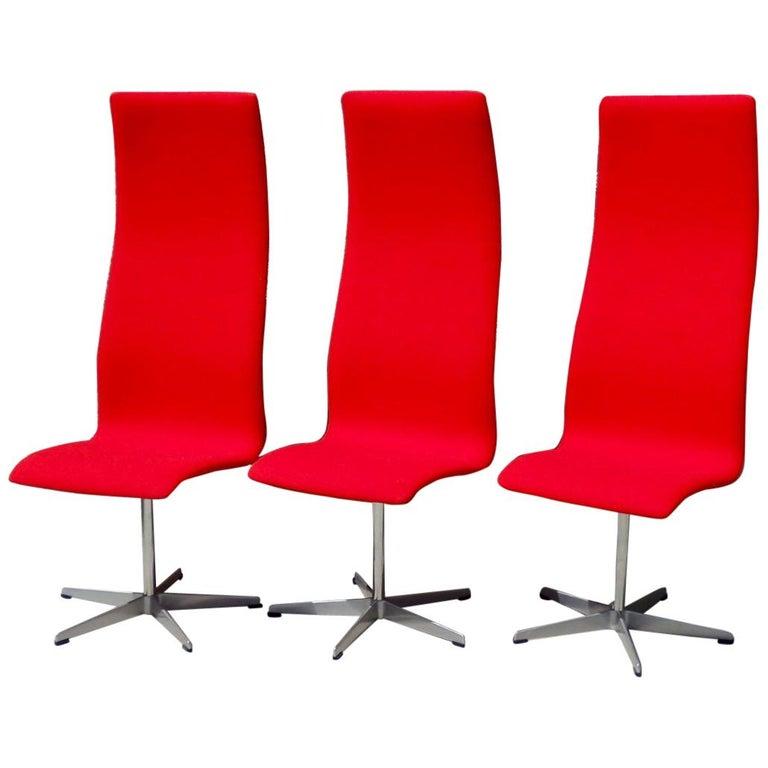Set of Eight Freshly Restored Arne Jacobsen Fritz Hansen High Back Oxford Chairs For Sale