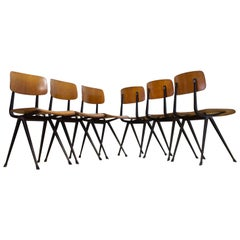 Set of Six Friso Kramer Result School Chairs Plywood and Black Frame, 1962