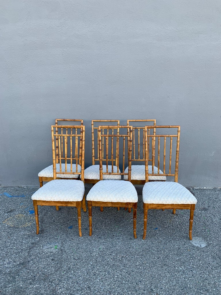 Set of Six Upholstered Fruitwood Bamboo Style Dining Chairs For Sale 5