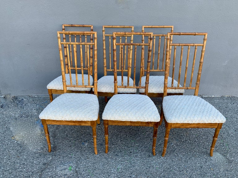 Set of Six Upholstered Fruitwood Bamboo Style Dining Chairs For Sale 6