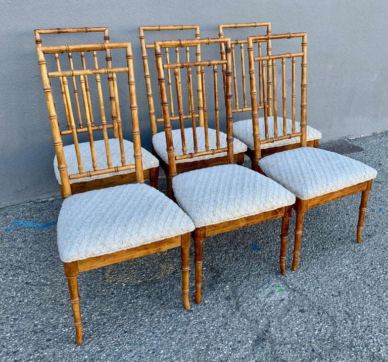Set of Six Upholstered Fruitwood Bamboo Style Dining Chairs For Sale 7