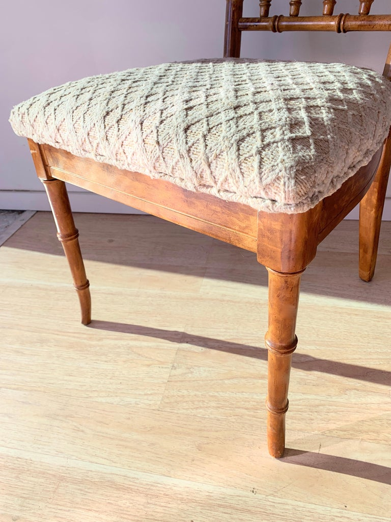 Set of Six Upholstered Fruitwood Bamboo Style Dining Chairs In Good Condition For Sale In Los Angeles, CA
