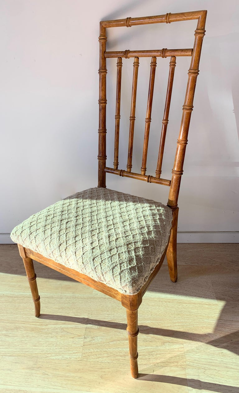 20th Century Set of Six Upholstered Fruitwood Bamboo Style Dining Chairs For Sale