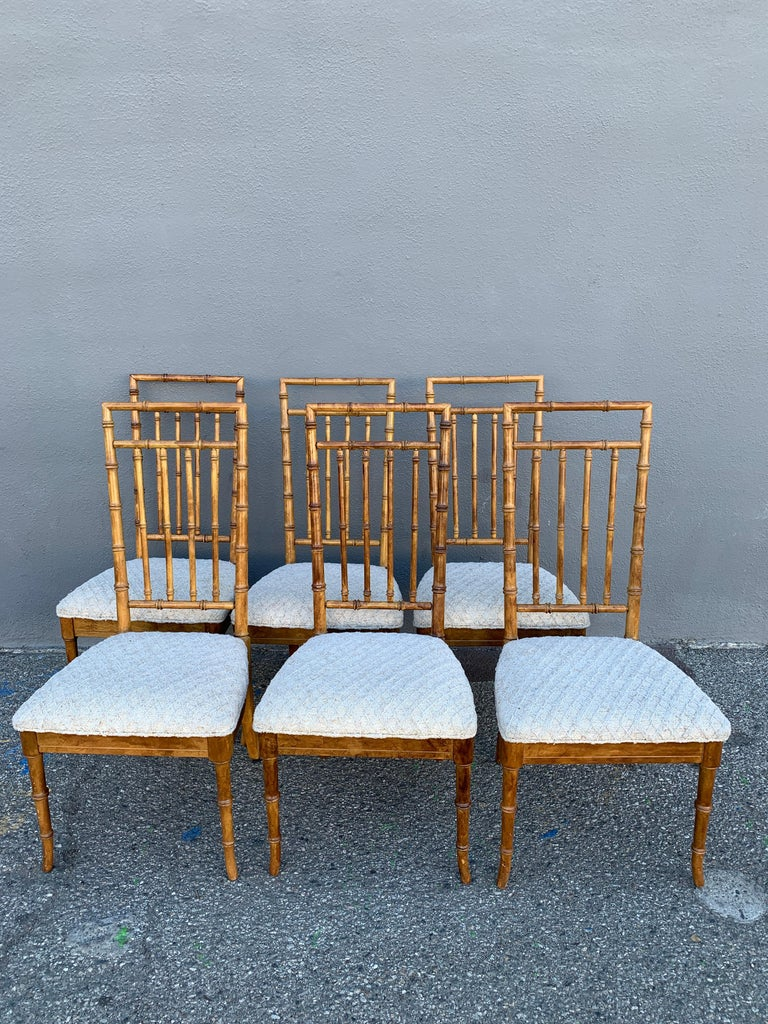 Set of Six Upholstered Fruitwood Bamboo Style Dining Chairs For Sale 2