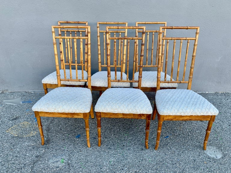 Set of Six Upholstered Fruitwood Bamboo Style Dining Chairs For Sale 4