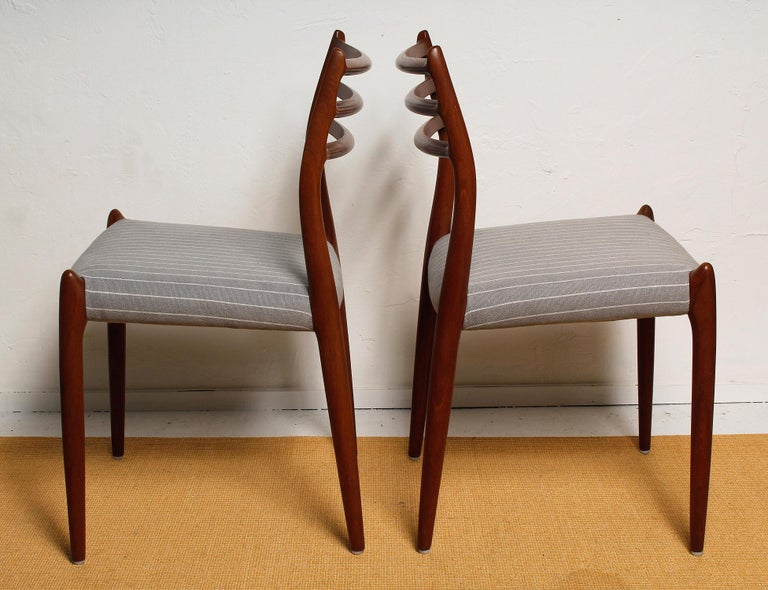 Mid-Century Modern Set of Six Fully Restored 1960s Teak Dining Chairs by Niels O. Møller For Sale