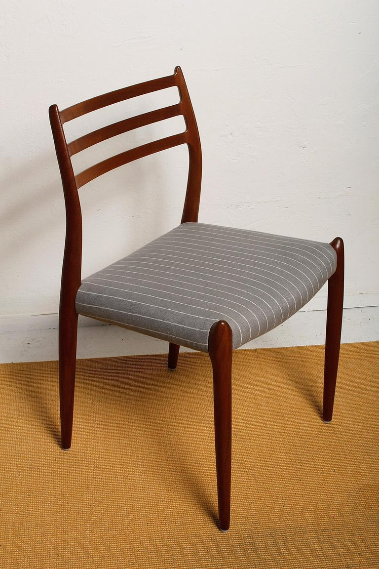 Set of Six Fully Restored 1960s Teak Dining Chairs by Niels O. Møller In Excellent Condition For Sale In North Miami, FL