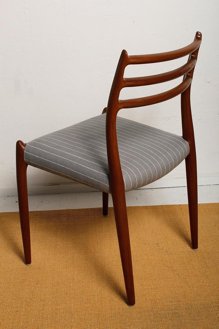 Mid-20th Century Set of Six Fully Restored 1960s Teak Dining Chairs by Niels O. Møller For Sale