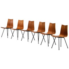 Set of Six GA Chairs from the 1950s by Swiss Designer Hans Bellmann