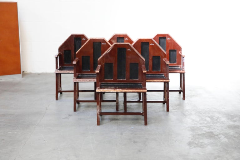 This incredible set of six (6) Chinese Embassy Art Deco dining armchairs were originally from the Chinese Embassy in Paris, from circa 1920s, and held by a Madison Ave, NYC, collector in its current, original finish until our recent acquisition.