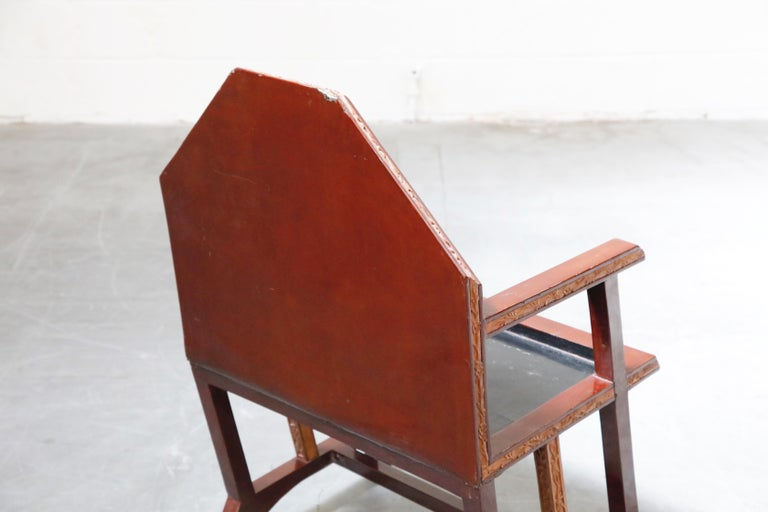 Set of Six Geometric Art Deco Armchairs from Chinese Embassy in Paris circa 1928 For Sale 14