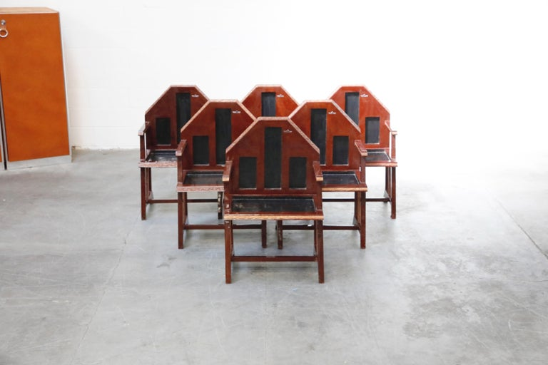 French Set of Six Geometric Art Deco Armchairs from Chinese Embassy in Paris circa 1928 For Sale