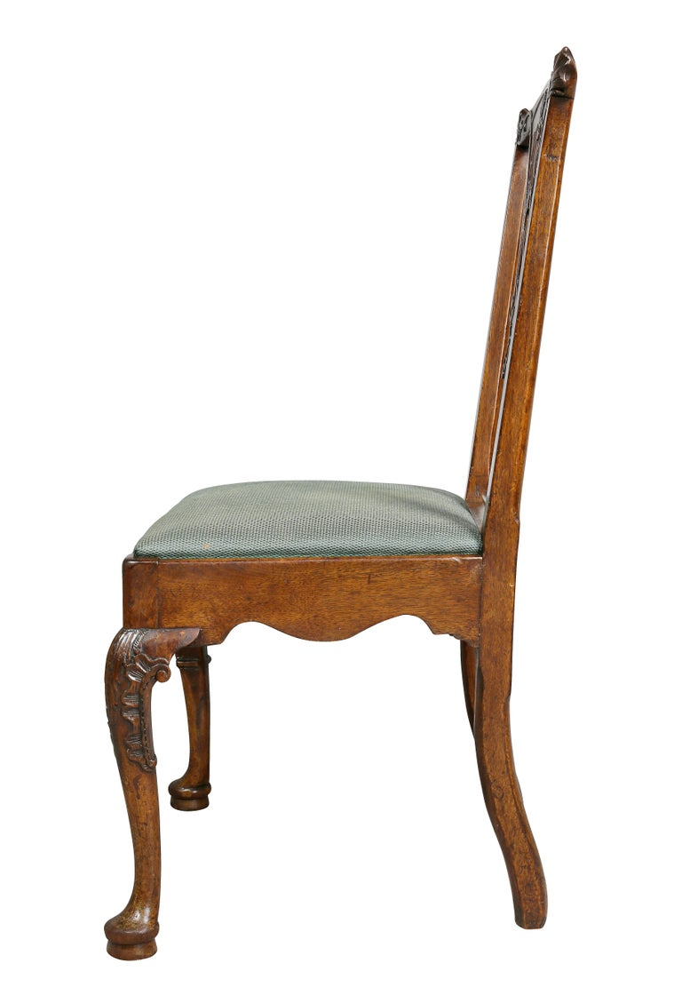 Set of Six George II Walnut Dining Chairs For Sale 5