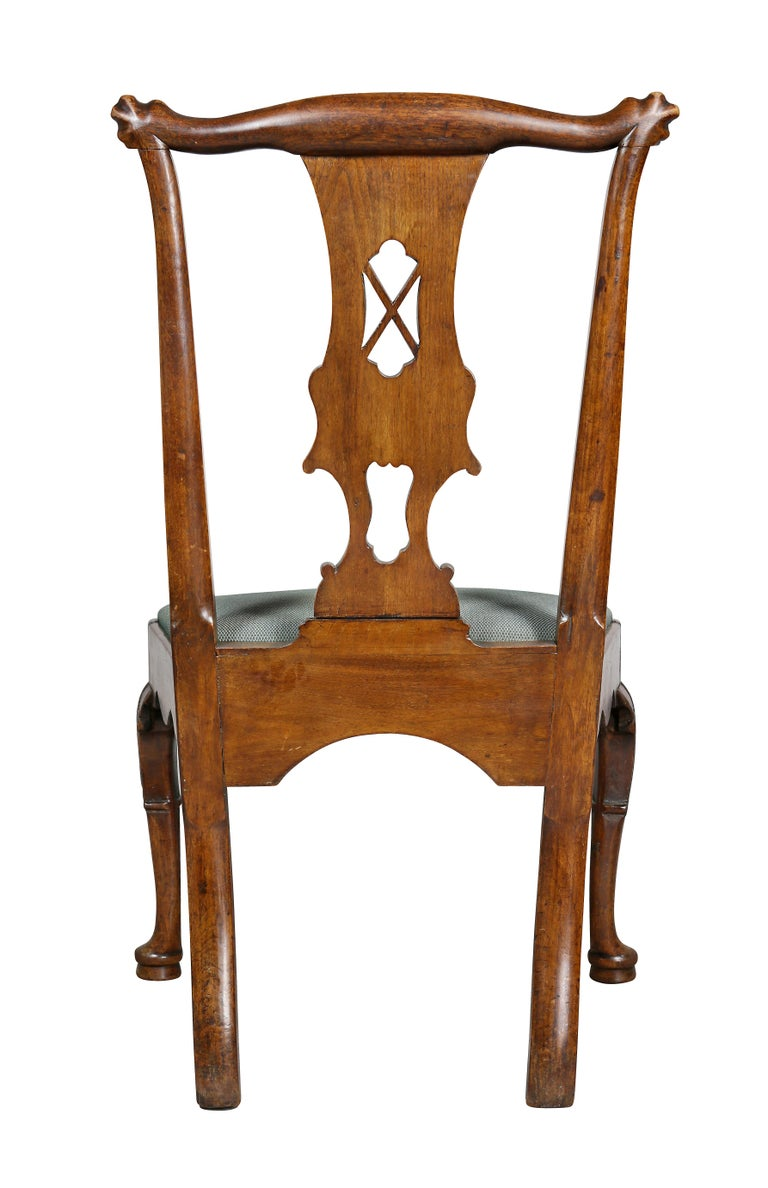 Set of Six George II Walnut Dining Chairs For Sale 6