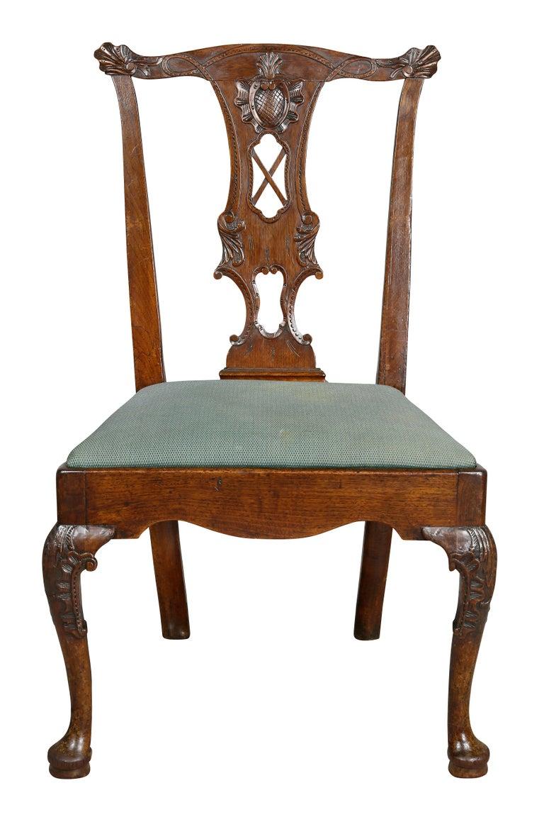 Georgian Set of Six George II Walnut Dining Chairs For Sale