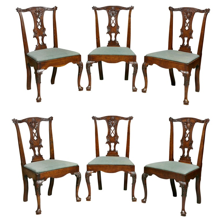 Set of Six George II Walnut Dining Chairs For Sale