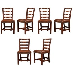 Set of Six George III Oak Dining Chairs