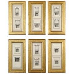 Set of Six George III Pen and Ink Drawings, Third Quarter of the 18th Century