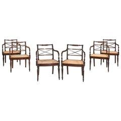 Set of Six George III Period Mahogany Elbow Chairs