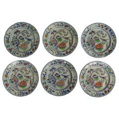 Set of Six Georgian Davenport Dinner Plates Ironstone Flying Bird Ptn,circa 1815