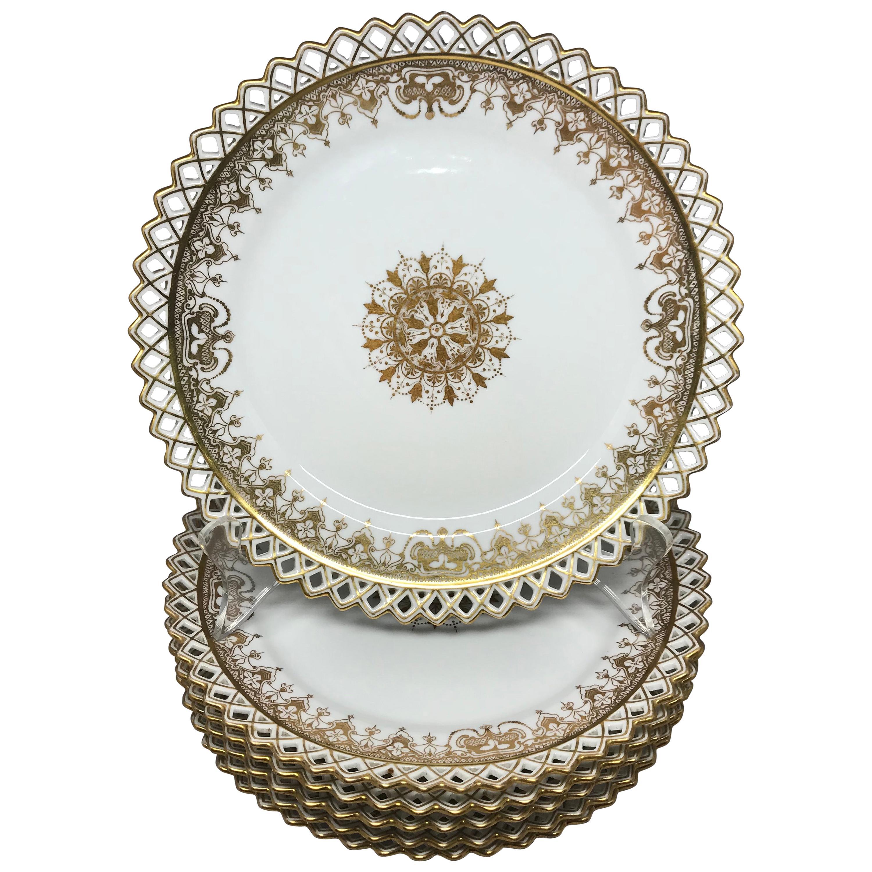 Set of Six Gilt Snowflake Plates