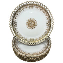 Set of Six Gilt Snowflake Plates