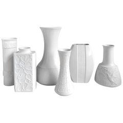 Set of Six German Vintage Textured White Biscuit Porcelain Vases