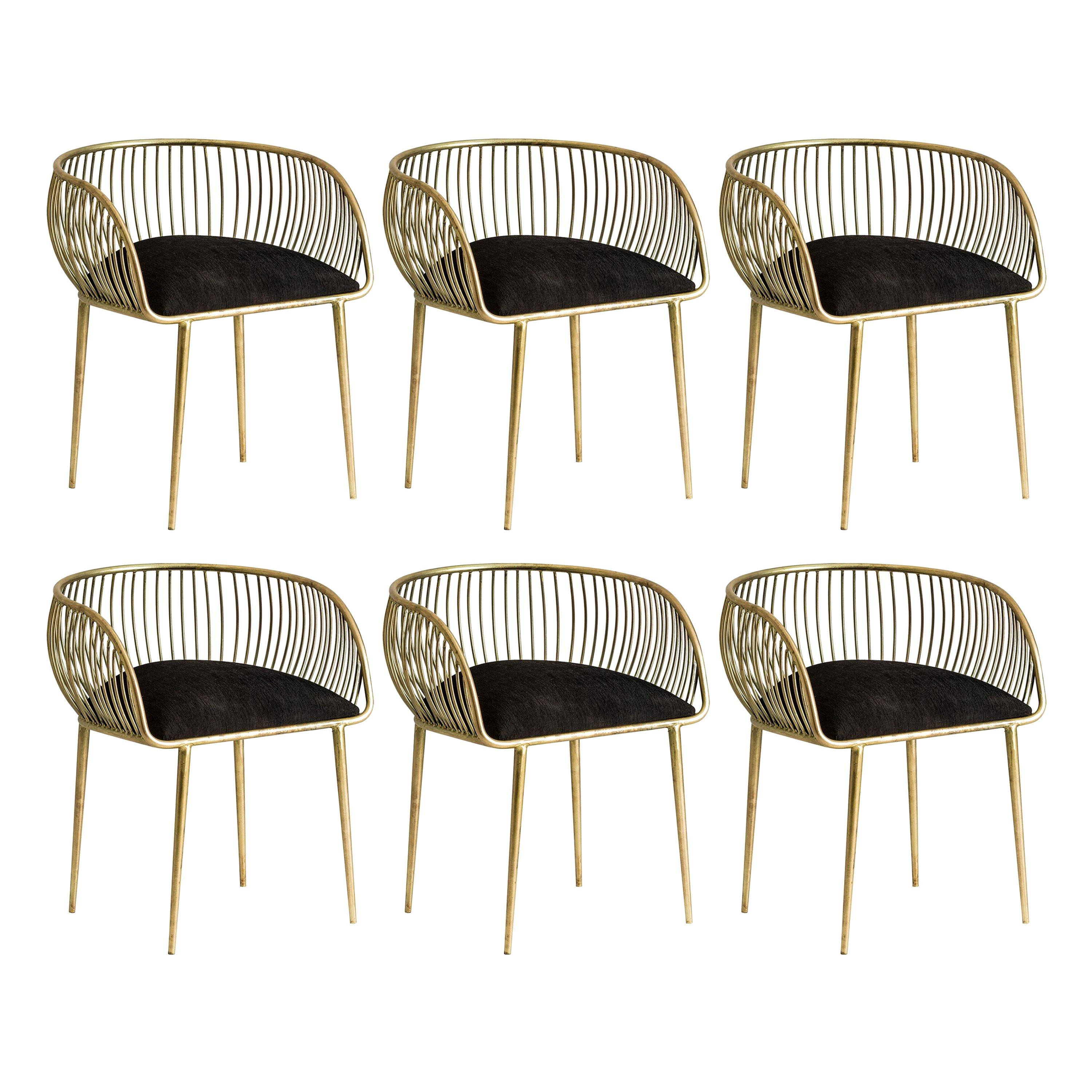 Set of Six Gilded Metal and Black Velvet Italian Style Dining Chairs