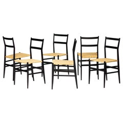 Set of Six Gio Ponti 699 Superleggera Chairs by Cassina