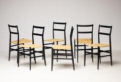 Set of Six Gio Ponti 699 Superleggera Chairs by Cassina
