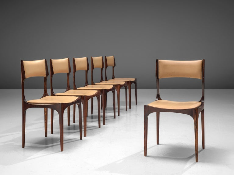 Mid-Century Modern Set of Six Giuseppe Gibelli 'Beatrice' Dining Chairs For Sale